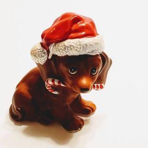 Vintage Dachshund Dog Puppy Christmas Figurine